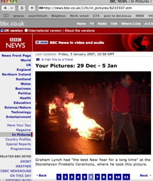 screen grab from bbc web site